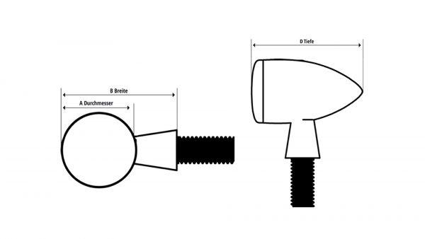 HIGHSIDER LED-indicator/positielampje ROCKET CLASSIC, zwart