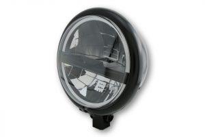 HIGHSIDER 5 3/4 Zoll LED Scheinwerfer BATES STYLE TYP 5, chrom, schw. Blende, untere Befest. - schwarz