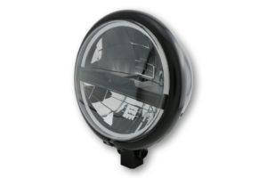 HIGHSIDER 5 3/4 tum LED strålkastare BATES STYLE TYP 5, krom, svart lamphållare, bottenmontering