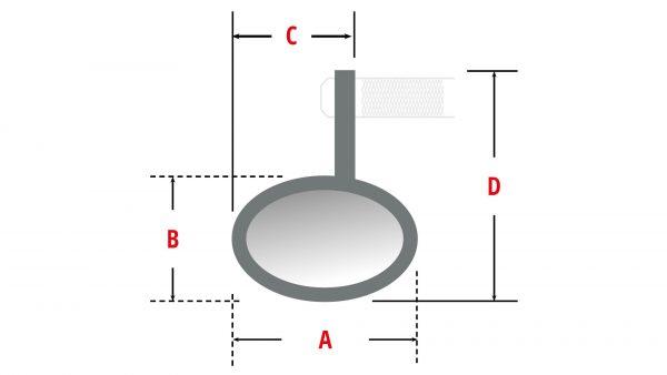 HIGHSIDER styrändsspegel CONERO, svart anodiserat
